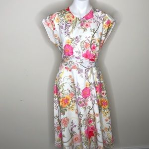 NWT Gibson Latimer White Pink Floral Dress Small